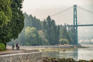 Biking along Stanley Park in Vancouver, Canada